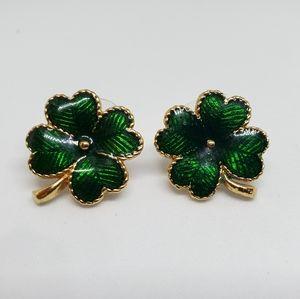 Avon Four Leafed Clover Shamrock Enamel Earrings